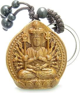 Amulet Sandal Wood Kwan Yin Quan Thousand Miracles Hands Feng Shui Keychain