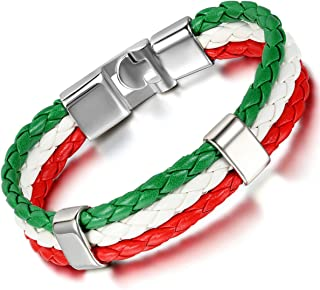 Mens Italy Flag Italian Banner Cuff Bangle Braided Leather Bracelet, Red White Green, 8.3