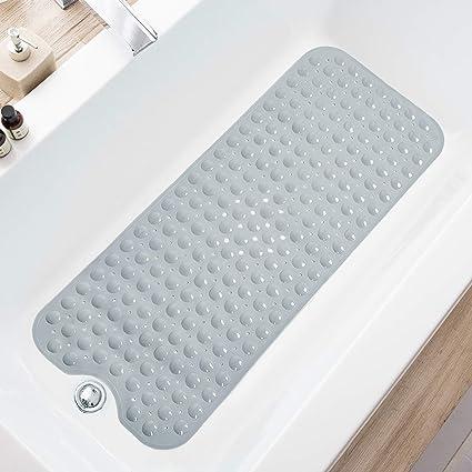 rutschfest extra lang maschinenwaschbar Badewannenmatte mit Abflussl/öchern TEESHLY Badewannen- und Duschmatte 99 x 40,6 cm Saugn/äpfen f/ür Badezimmer X-Large Transparentes T/ürkis