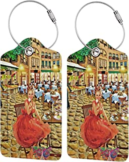 2 Pcs PU Leather Marilyn Monroe Luggage Tag With Name ID Card Travel Suitcase Bag Labels Baggage Tags