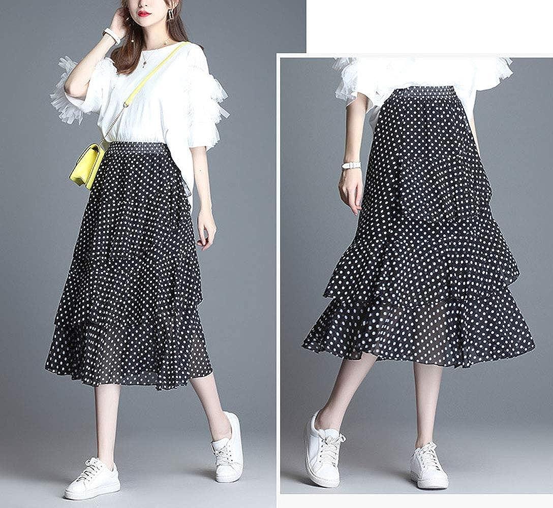 ebossy Women's Floral Print Elastic Wasit Chiffon A-Line Layered Ruffle Tiered Midi Skirt