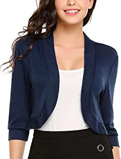96deef8630154a Meaneor Women 3 4 Sleeve Slim Fitted Cropped Open Front Shrug Bolero  Cardigan Tops