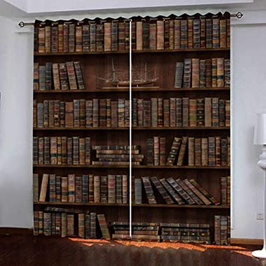 zzttyyz Rideaux Occultants Bibliothèque 3D Marron Rideau a Oeillets de Fenêtre à et Isolation Thermique Microfibre Home Decor