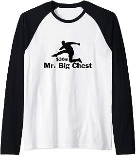 Mr Big Chest - Football Player Hurdling Money Raglan Baseball Tee