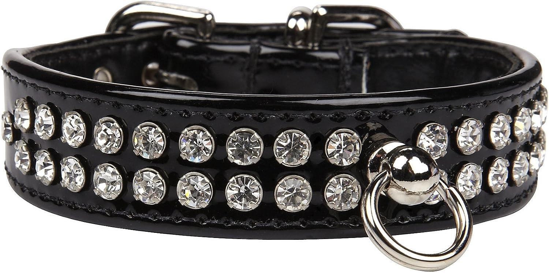 Fab Dog Crystal Collar  Black & Clear Stones  XSmall