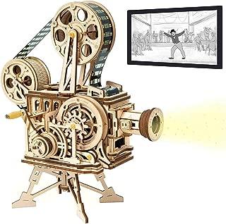 ZZKK Proyector de Rompecabezas Tridimensional de Madera Hecho a Mano proyector de película con manivela Vintage colección de decoración de Regalo de época de película de Objeto Antiguo