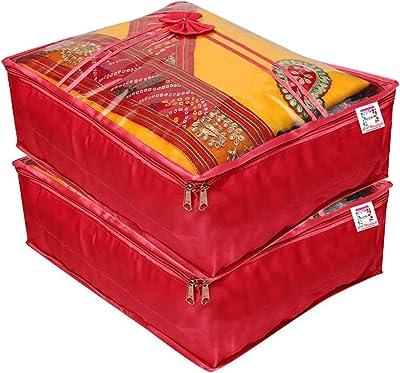 atorakushon® Satin Saree Cover Clothes Storage Bag Wardrobe Garments Organiser Pack of 2 (Maroon)