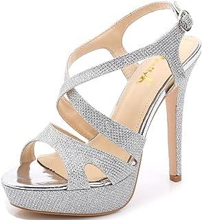 YooPrettyz Women's Sparkle Strappy Pump High-Heel Evening Platform Sandals Wedding Shoes