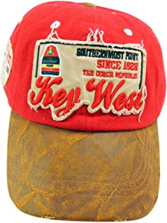 Southernmost Point Hat Key West Florida Souvenir Trucker Cap in Red Adjustable