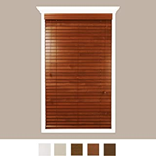 Luxr Blinds Custom-Made Real Wood Horizontal Window Blinds with Easy Inside Mount - 70