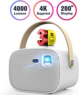 """Mini Projector 4000 Lumens 3D Portable DLP Video Projector ±40° Keystone Built in Stereo Speaker Support 4K HDMI USB iPhone PC Bluetooth PS4 200"""" Home Theater Outdoor Gaming Wireless Screen Sharing"""