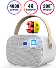 Mini Projector 4000 Lumens 3D Portable DLP Video Projector ±40° Keystone Built in..