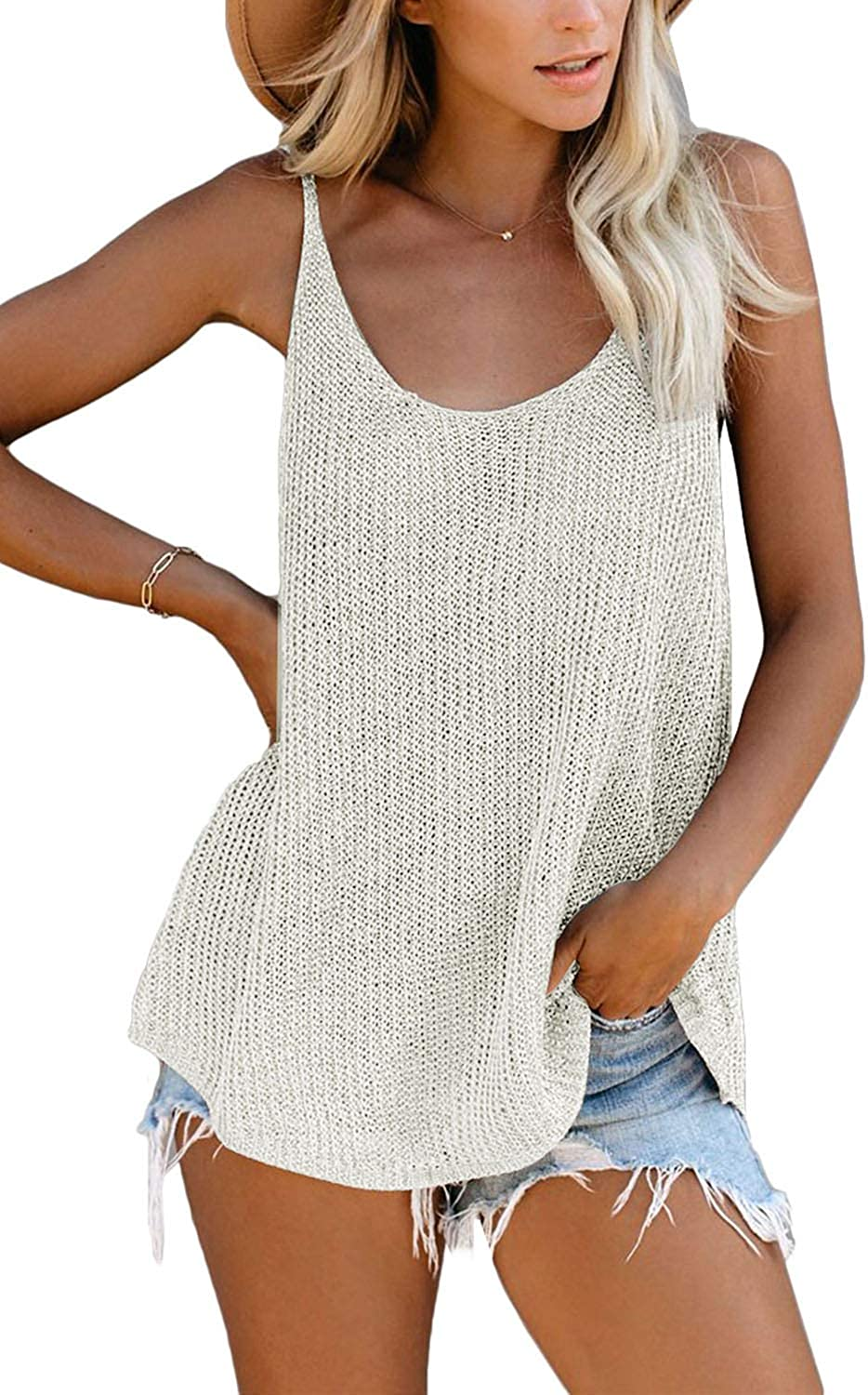 GOLDPKF Knit Tank Tops and Blouses for Women Scoop Neck Loose Fit Casual Shirts
