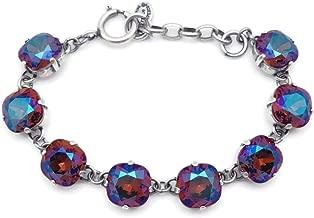 Catherine Popesco 12mm Brandy Swarovski Crystal Cushion Cut Silvertone Bracelet Adjustable
