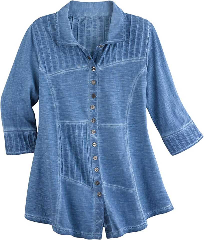 Parsley & Sage Women's Pin Tuck Tunic Top - Button Front 3/4 Sleeve Pieced Shirt