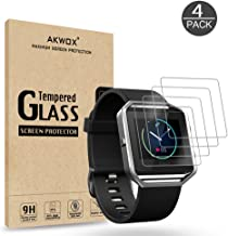 (Pack of 4) Tempered Glass Screen Protector for Fitbit Blaze Smart Watch, Akwox [0.3mm 2.5D High Definition 9H] Premium Clear Screen Protective Film for Fitbit Blaze