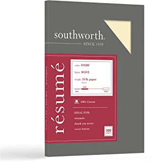 """Southworth Resume Paper, 100% Cotton, 8.5"""" x 11"""", 24lb/90 gsm, Wove Finish, Ivory, 100 Sheets - Packaging May Vary (R14ICF)"""