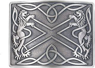The Saltire & Lions Rampet Kilt Belt Buckle Silver