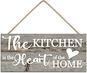 Jetec Elegant Wood Wall Sign The Kitchen is The Heart of The Home Wood Sign Wall Decoration Wood Plaque with Rope for Home Kitchen Pantry Decoration
