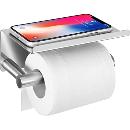 Upgrade Toilet Paper Roll Holder with Anti-Drop Oversized Phone Shelf,Self Adhesive Stainless Steel Tissue Paper Holder for Bathroom,Wall Mounted with Adhesive Pad No Drilling or Screws,Brushed