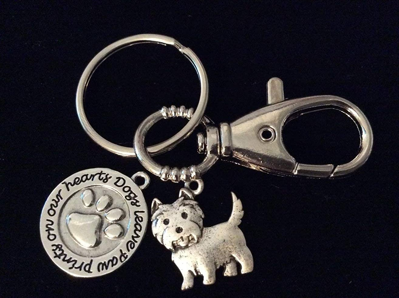 Dogs Leave Paw Prints on Our Hearts Westie Dog Memorial FOB Keychain Silver Key Chain Meaningful Dog Lover Gift