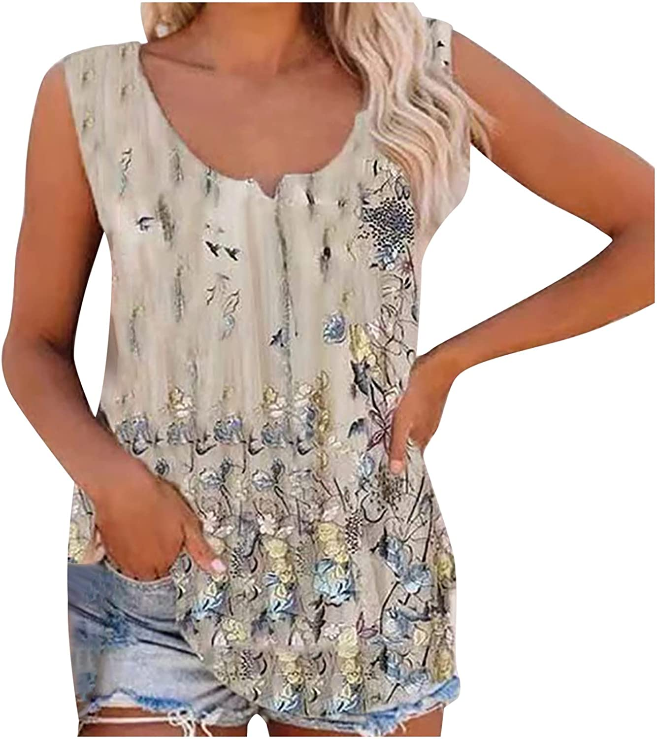 Womens Summer Tops 's Blouse New Flower Print Casual Loose Color Classic Vest Tops