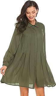 Women's A line Button Flare Hem Patchwork Shirt Collared Dress