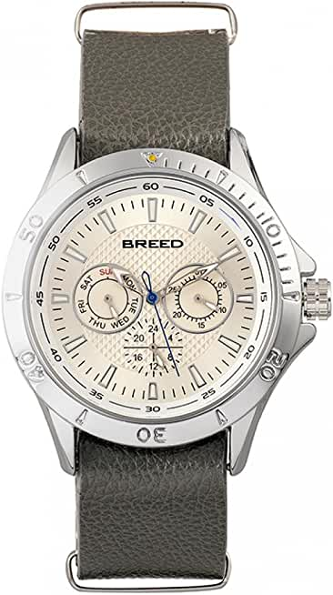 Breed Dixon Leather-Band Watch with Day-Date