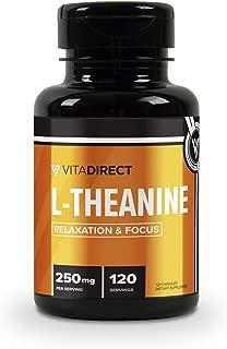 VitaDirect Premium Pure L-Theanine Capsules 250 mg (Theanine), 120 Vegetarian Capsules, Non-GMO, Gluten Free