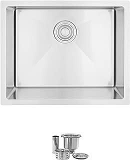 22 Inch Topmount or Undermount Single Bowl Laundry Deep Sink, 18 Gauge Stainless Steel,10mm Radius Corners, Basket Drainer Strainer, S-320T