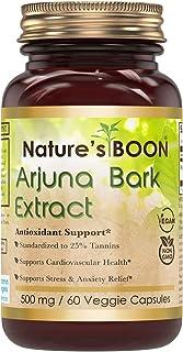 Nature's Boon Premium Quality Arjuna Bark Extract 500 mg, 60 Veggie Capsules (Glass Bottle) -Potent Antioxidant Property -...