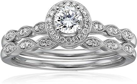 IGI Certified 14k White Gold Diamond Vintage Halo with Millgrain Wedding Ring Set (1/2cttw, H-I Color, I1-I2 Clarity)