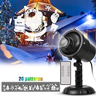 Popular Christmas Projector Lights, LED Snowfall Spotlight,20 Patterns Decorative Lighting for Christmas Holiday Stage, Waterproof,Remote Control,Timer