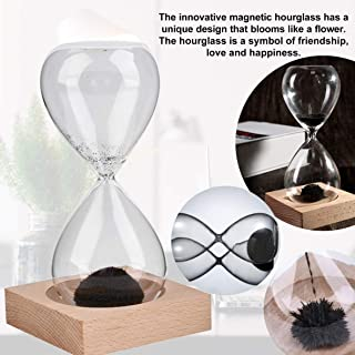Moliies Hand-Blown Timer Clock Magnet Magnetic Crafts Sand Clock Hourglass Timer Christmas Home Decoration Best Gift - Black(Sand) & Clear(Glass)