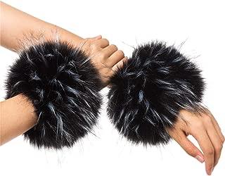 Lucky Leaf Women Winter Wrist Warmers Faux Fox Fur Soft Cuffs Band Ring
