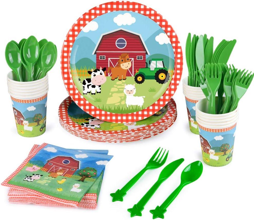 WERNNSAI Farm Party Tableware Set - Barnyard Animal Themed Party
