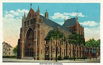 Peoria, Illinois - Exterior View of the Scottish Rite Cathedral (9x12 Art Print, Wall Decor Travel Poster)