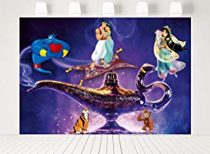 ERIC 7x5ft Aladdin Party Supplies Backdrop Arabian Nights Girl Jasmine Backdrops for Photography Kids Children Birthday Party Decoration Banner Photo Booth Studio Props LF-315