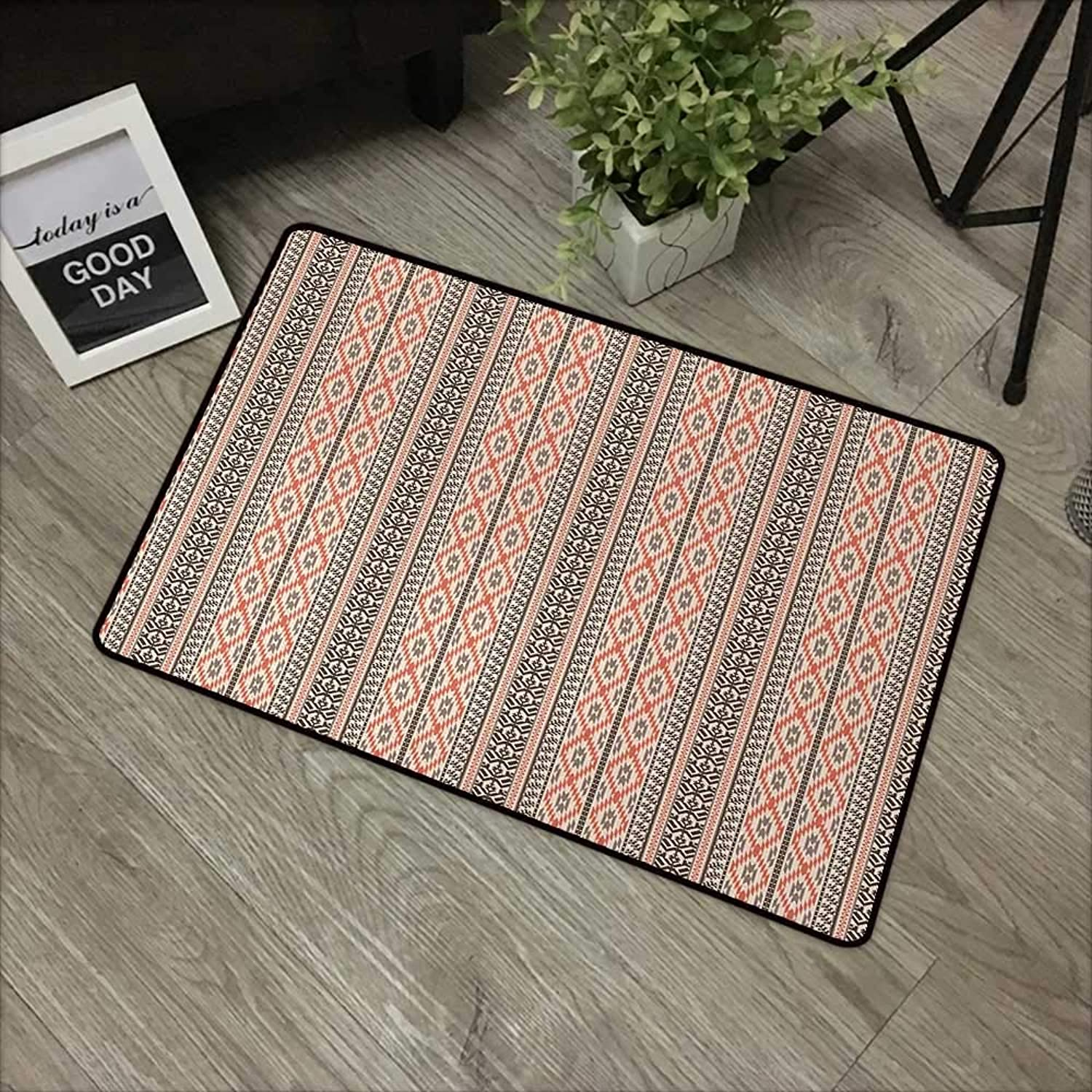 Learning pad W35 x L59 INCH Ethnic,greenical Borders with Stripes and Geometric Ornaments Abstract Antique Aztec Design,Multicolor Non-Slip, with Non-Slip Backing,Non-Slip Door Mat Carpet