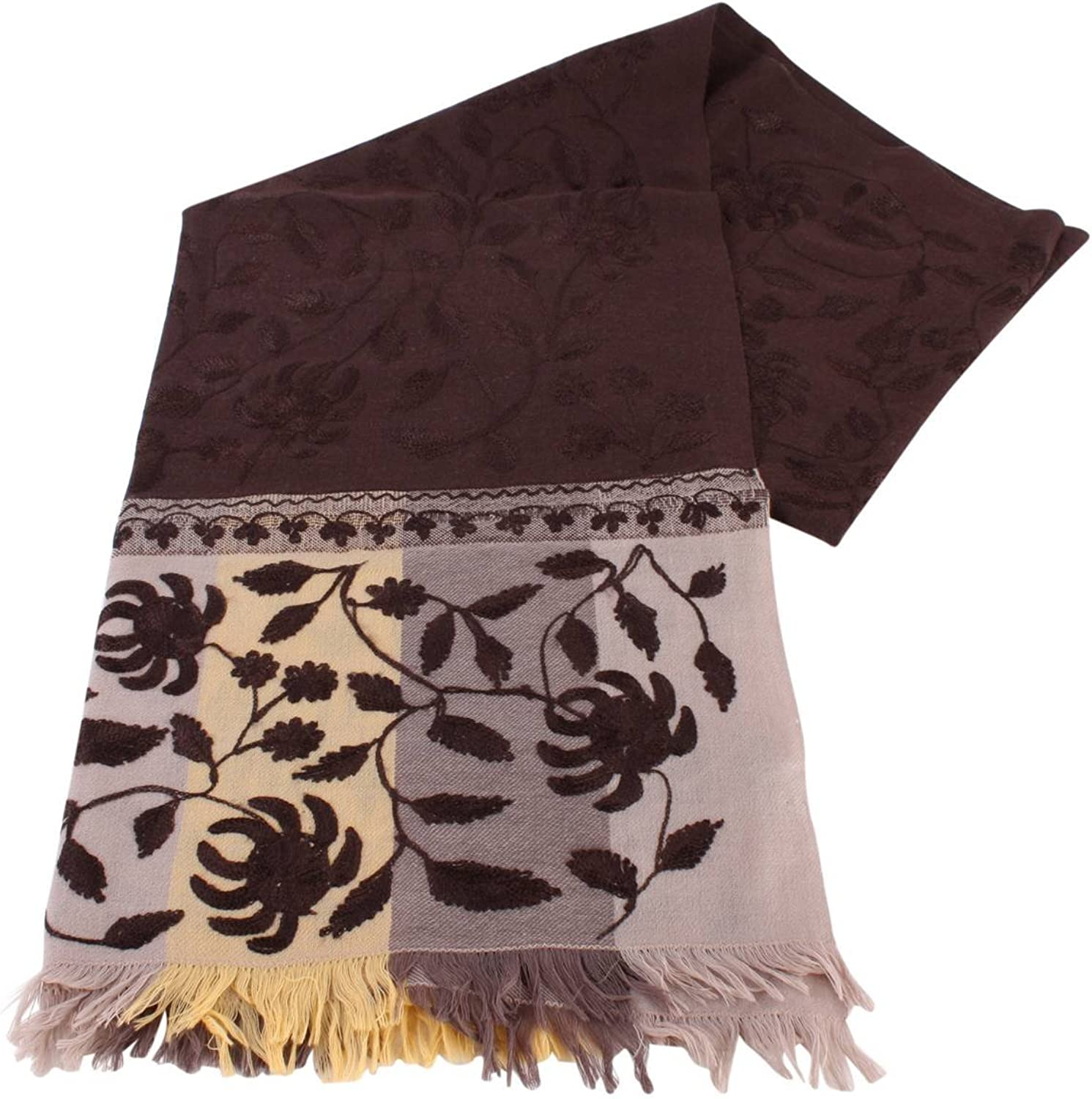 Bassin and Brown Womens Redwood Large Flower Wool Scarf  Brown Beige Fawn
