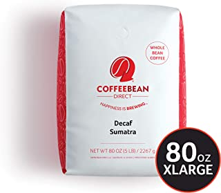 Coffee Bean Direct Decaf Sumatra, Whole Bean Coffee, 5-Pound Bag