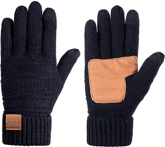 Womens Wool Winter Warm Knit Gloves