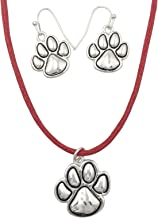 Paw Print School Spirit Mascot Silver Tone Necklace & Earring Set- Assorted Colors