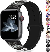 GeekSpark Compatible with Apple Watch Band 38mm 40mm 42mm 44mm,Soft Silicone Fadeless Pattern Printed Replacement Bands for iWatch Series 5,4,3,2,1/Women Men Grey Flower 38mm 40mm M/L