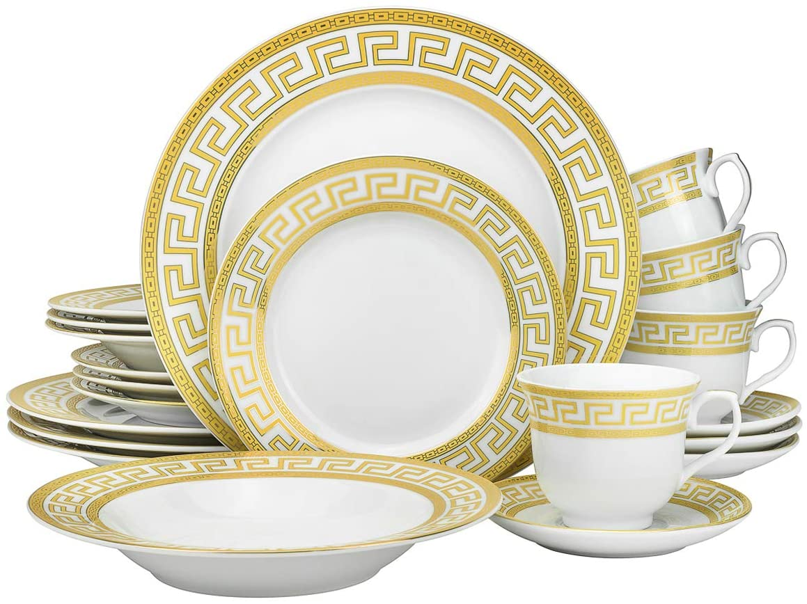 Euro Porcelain 40-pc Dinnerware Set w 2 Greek Key Pattern Limited Fort Worth Mall time trial price Gold