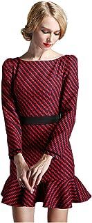 فستان قصير مقلم للحفلات والكوكتيل بأكمام قصيرة للنساء من Denovelty