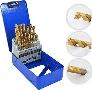 S&R träborrsats 25 tlg.: 1–13 mm, HSS 4241 stål, med TiN-beläggning, slipad kronspets för exakta borrhål, i metalllåda