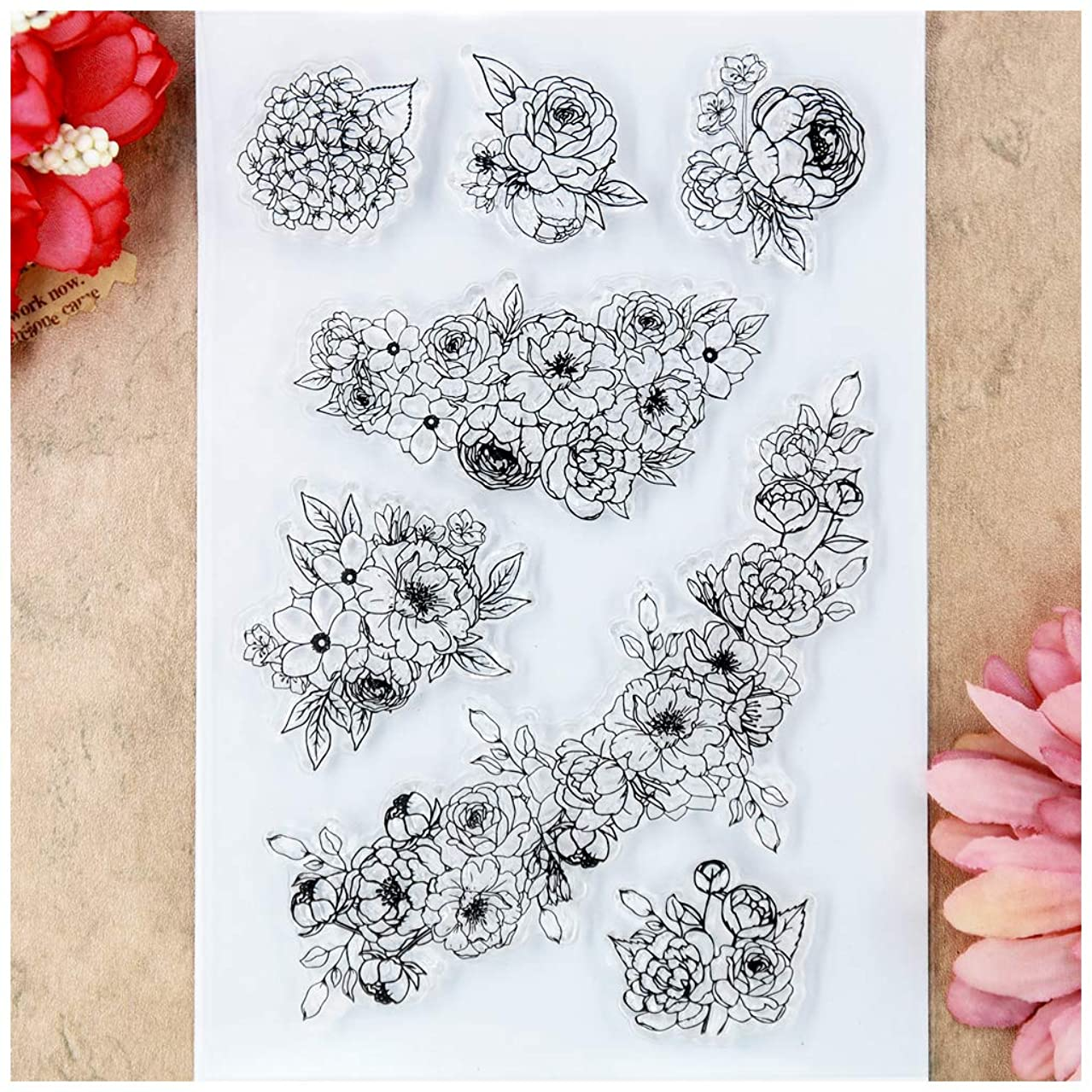 Kwan Crafts Flowers Rose Clear Stamps for Card Making Decoration and DIY Scrapbooking