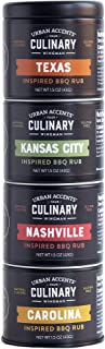 Urban Accents BBQ ROAD TRIP TOWER, Gourmet BBQ Rub Set, Grill Seasonings Set (Set of 4) - BBQ Meat Seasoning and Spice Set...