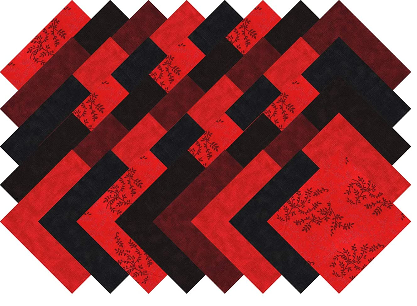 Red Black Brown 40 Precut 5-inch Quilting Fabric Charm Squares